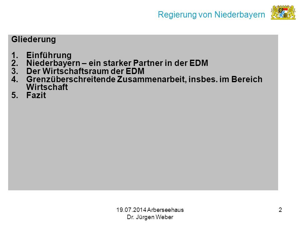 19.07.2014 Arberseehaus Dr. Jürgen Weber 2 Regierung von Niederbayern Gliederung 1.Einführung 2.Niederbayern – ein starker Partner in der EDM 3.Der Wi