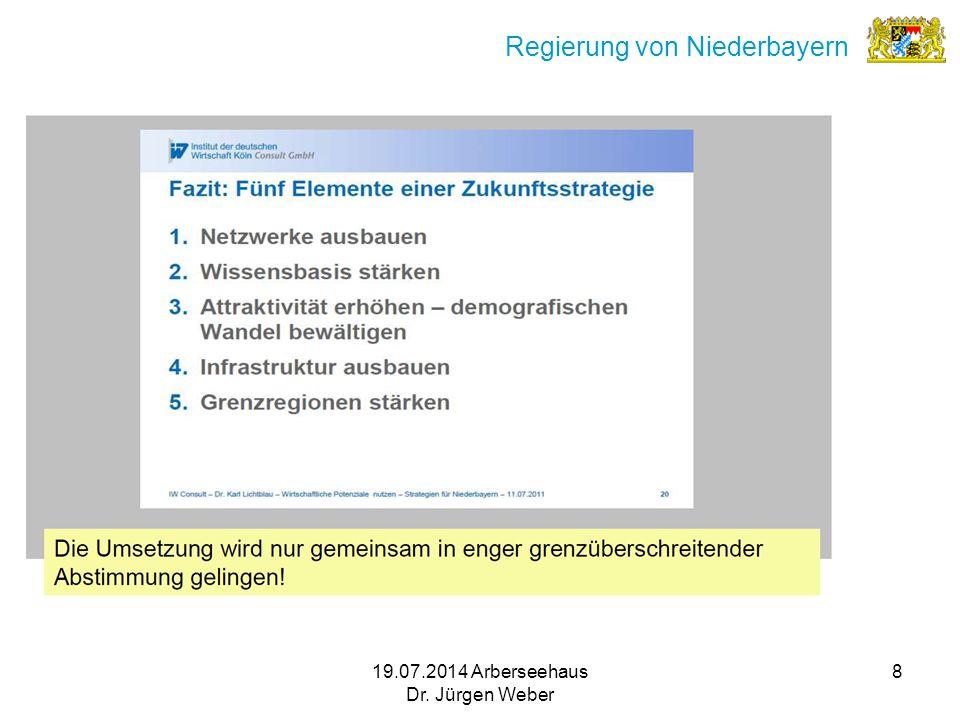 19.07.2014 Arberseehaus Dr. Jürgen Weber 8 Regierung von Niederbayern