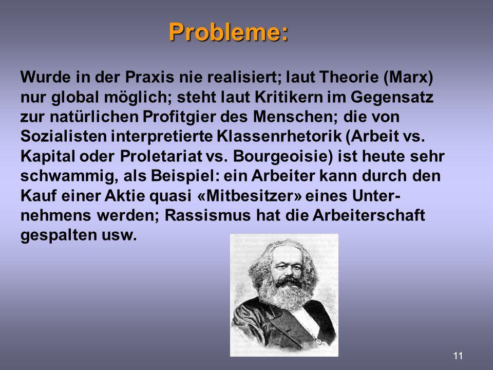 Probleme: 11 Wurde in der Praxis nie realisiert; laut Theorie (Marx) nur global möglich; steht laut Kritikern im Gegensatz zur natürlichen Profitgier