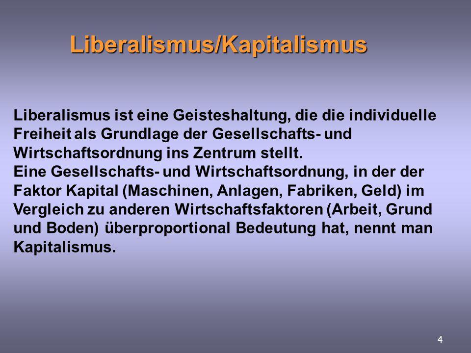 Liberalismus/Kapitalismus 4 Liberalismus ist eine Geisteshaltung, die die individuelle Freiheit als Grundlage der Gesellschafts- und Wirtschaftsordnun