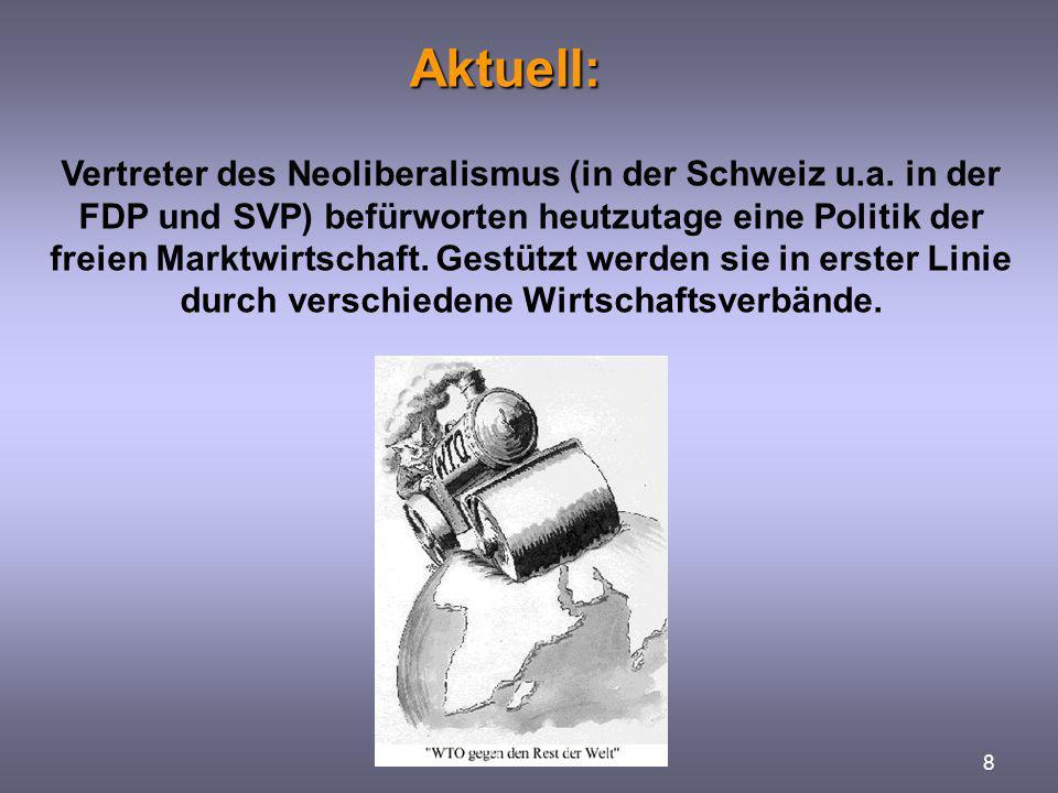 Aktuell: Aktuell: 8 Vertreter des Neoliberalismus (in der Schweiz u.a. in der FDP und SVP) befürworten heutzutage eine Politik der freien Marktwirtsch