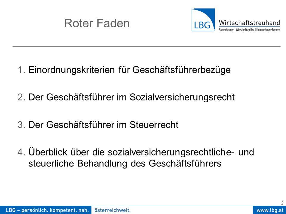3 1.Einordnungskriterien der GF-Bezüge Die steuerliche u.