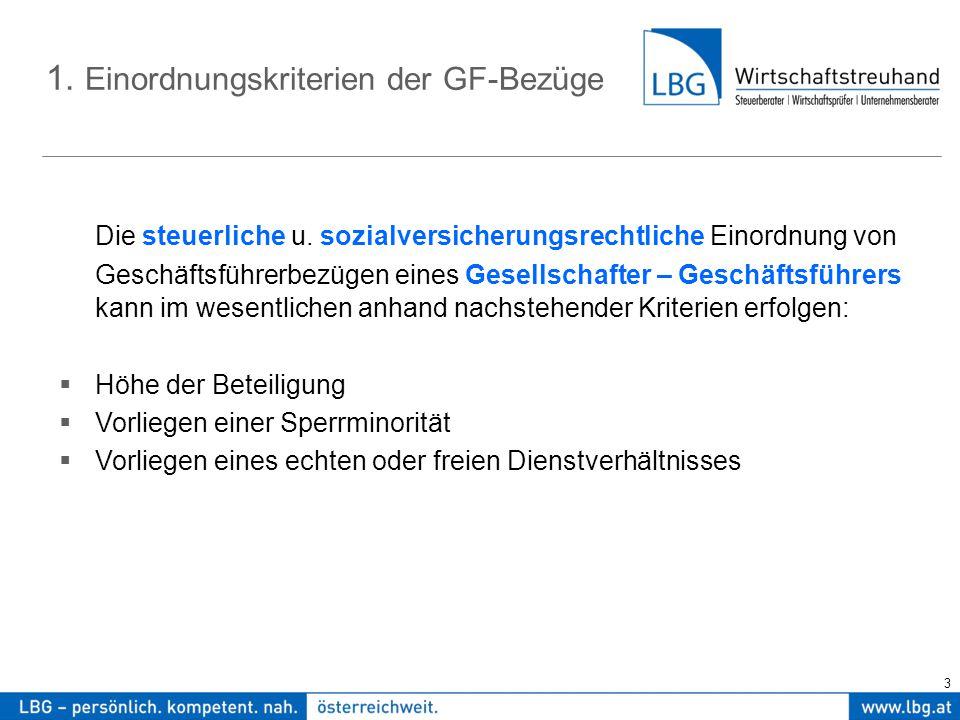 3 1. Einordnungskriterien der GF-Bezüge Die steuerliche u.