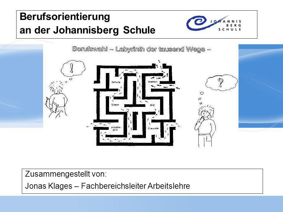 Berufsorientierung an der Johannisberg Schule Zusammengestellt von: Jonas Klages – Fachbereichsleiter Arbeitslehre