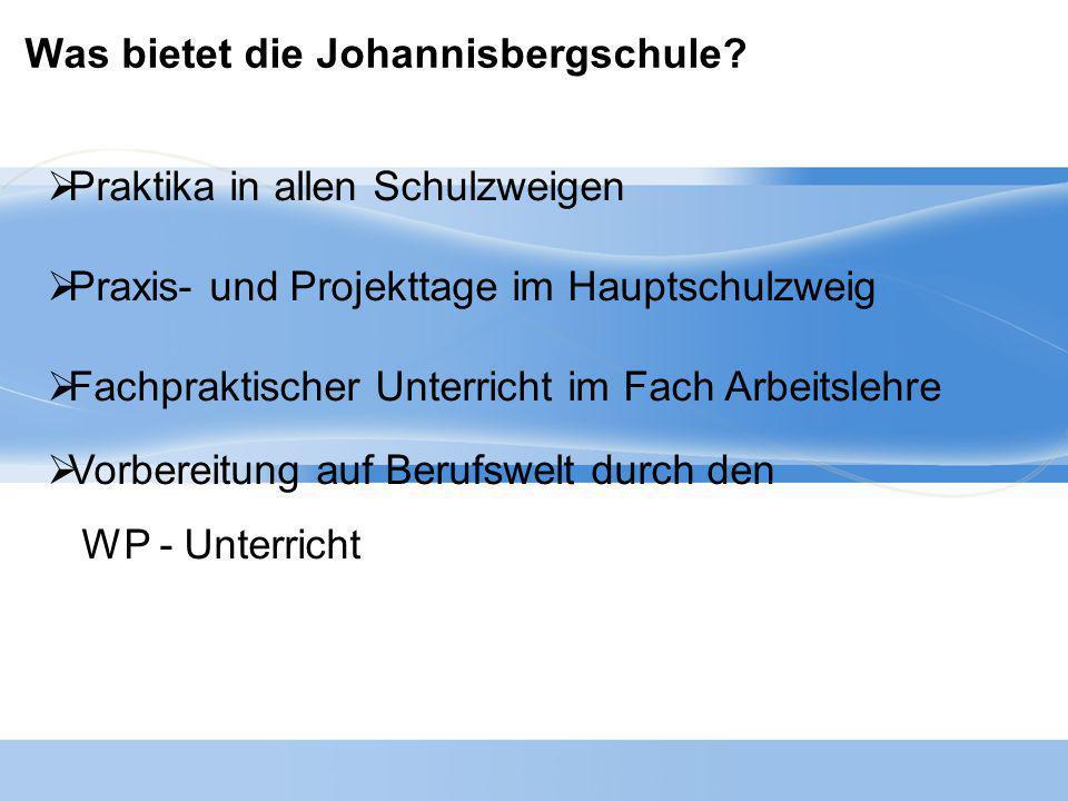 Was bietet die Johannisbergschule?  Praktika in allen Schulzweigen  Praxis- und Projekttage im Hauptschulzweig  Fachpraktischer Unterricht im Fach