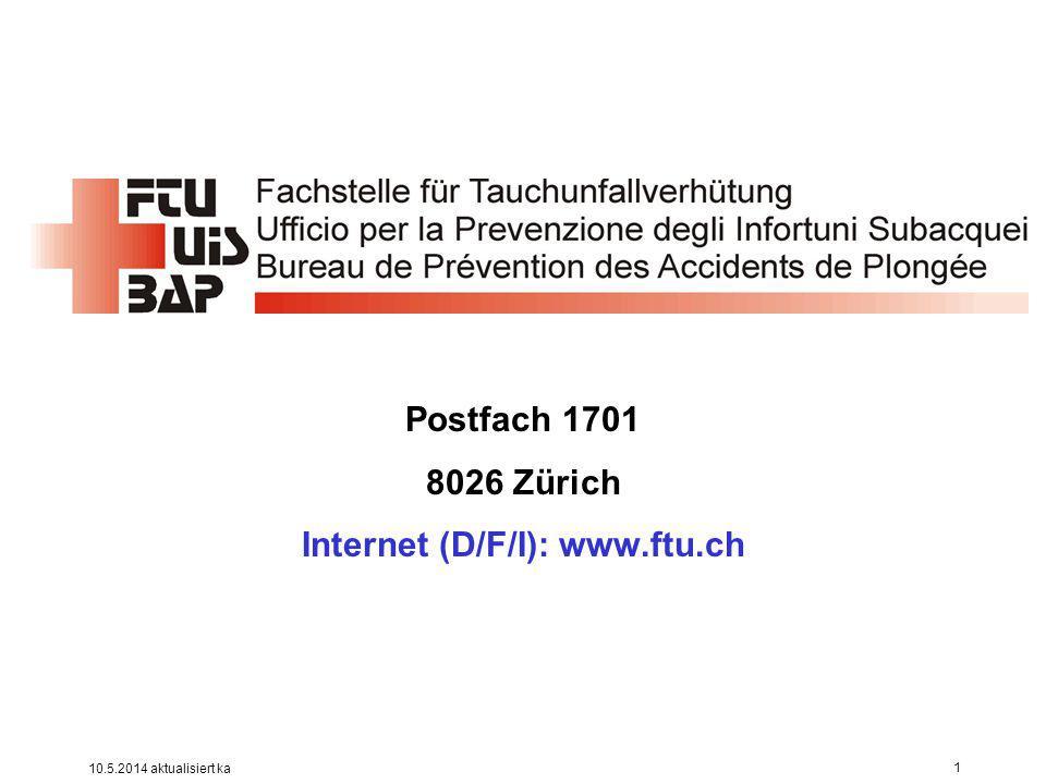 Ziele .Einheitliches Erfassen aller Tauchunfälle in der Schweiz sowie von Schweizern im Ausland.