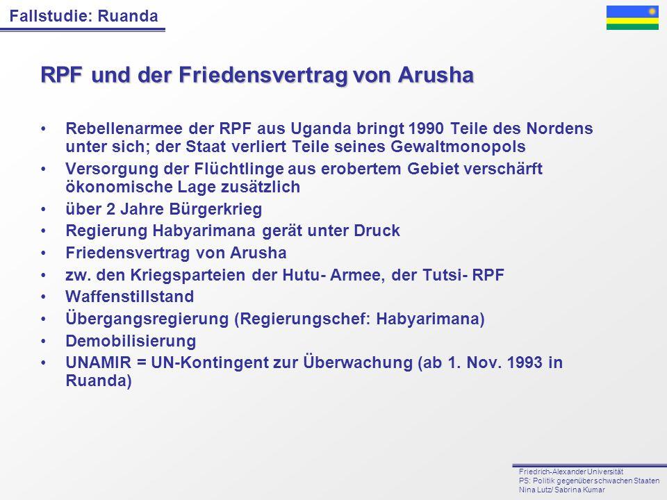 Fallstudie: Ruanda Friedrich-Alexander Universität PS: Politik gegenüber schwachen Staaten Nina Lutz/ Sabrina Kumar RPF und der Friedensvertrag von Ar
