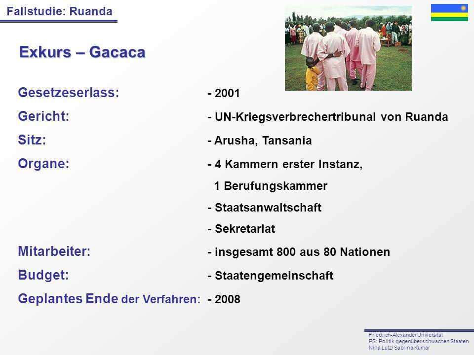Fallstudie: Ruanda Friedrich-Alexander Universität PS: Politik gegenüber schwachen Staaten Nina Lutz/ Sabrina Kumar Exkurs – Gacaca Gesetzeserlass: -