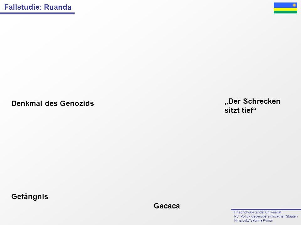 Fallstudie: Ruanda Friedrich-Alexander Universität PS: Politik gegenüber schwachen Staaten Nina Lutz/ Sabrina Kumar Gefängnis Gacaca Denkmal des Genoz