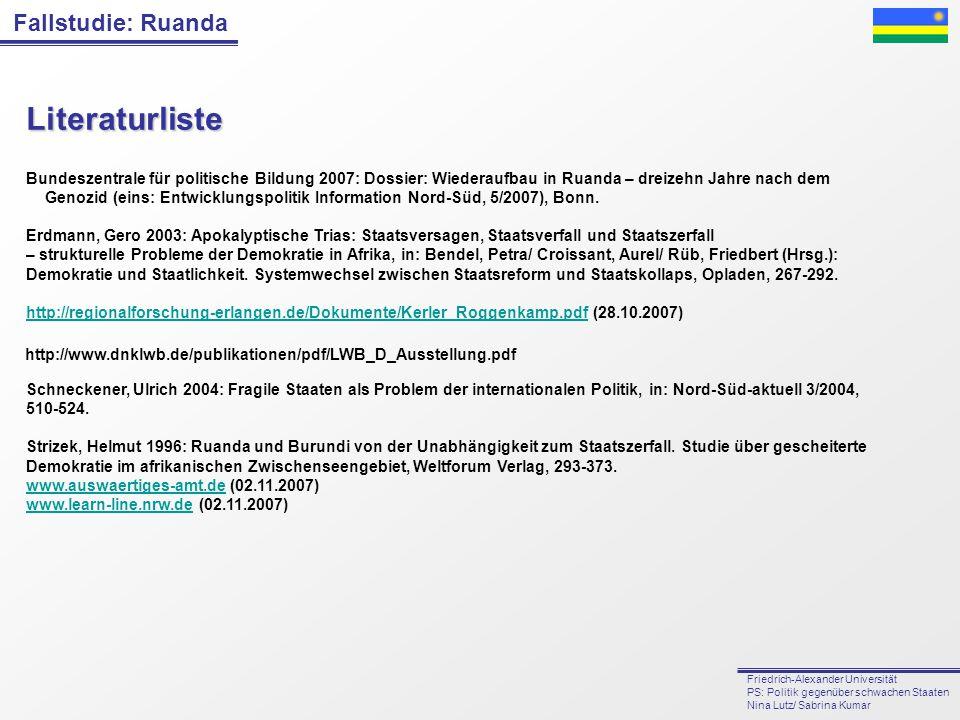 Fallstudie: Ruanda Friedrich-Alexander Universität PS: Politik gegenüber schwachen Staaten Nina Lutz/ Sabrina Kumar Literaturliste Bundeszentrale für