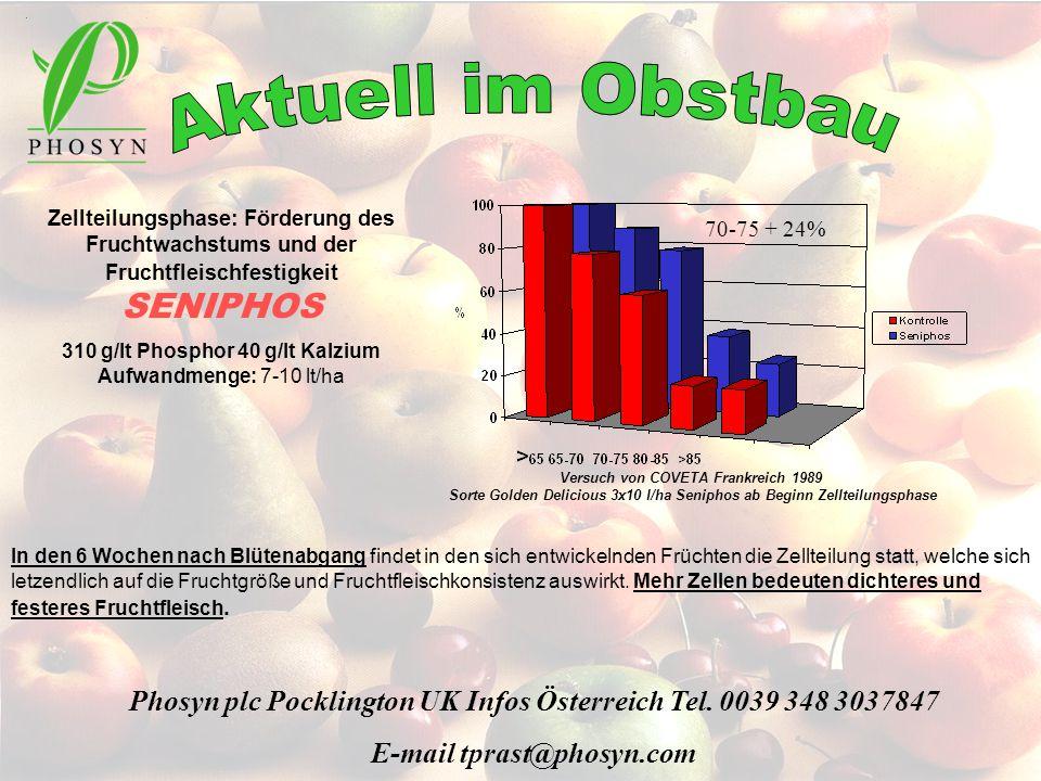Zellteilungsphase: Förderung des Fruchtwachstums und der Fruchtfleischfestigkeit SENIPHOS 310 g/lt Phosphor 40 g/lt Kalzium Aufwandmenge: 7-10 lt/ha I