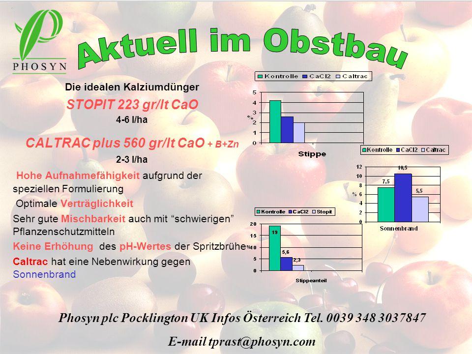 Die idealen Kalziumdünger STOPIT 223 gr/lt CaO 4-6 l/ha CALTRAC plus 560 gr/lt CaO + B+Zn 2-3 l/ha Hohe Aufnahmefähigkeit aufgrund der speziellen Form