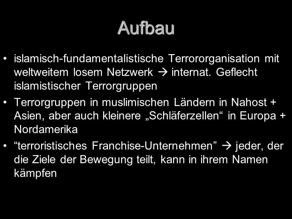 Aufbau islamisch-fundamentalistische Terrororganisation mit weltweitem losem Netzwerk  internat. Geflecht islamistischer Terrorgruppen Terrorgruppen