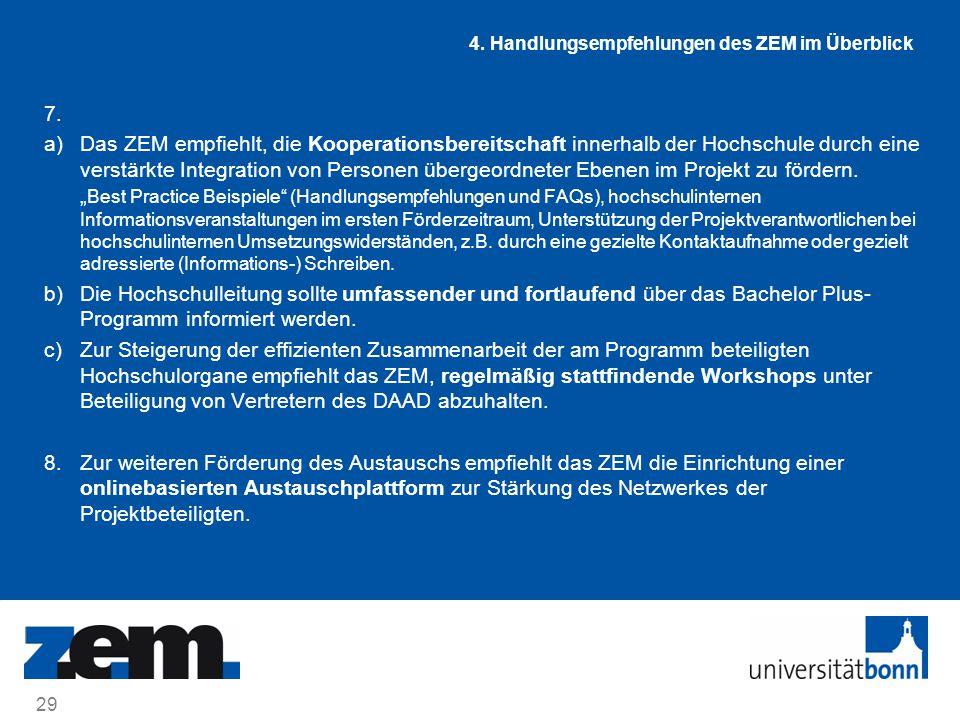 7. a)Das ZEM empfiehlt, die Kooperationsbereitschaft innerhalb der Hochschule durch eine verstärkte Integration von Personen übergeordneter Ebenen im