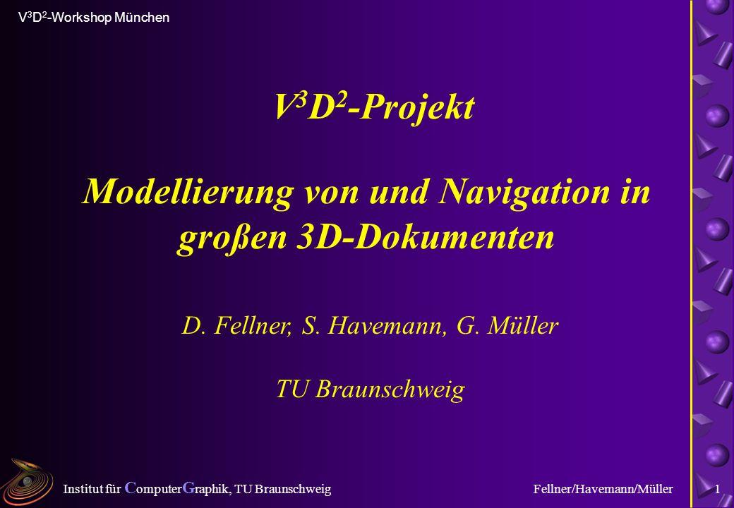 Institut für C omputer G raphik, TU Braunschweig V 3 D 2 -Workshop München Fellner/Havemann/Müller1 Modellierung von und Navigation in großen 3D-Dokum