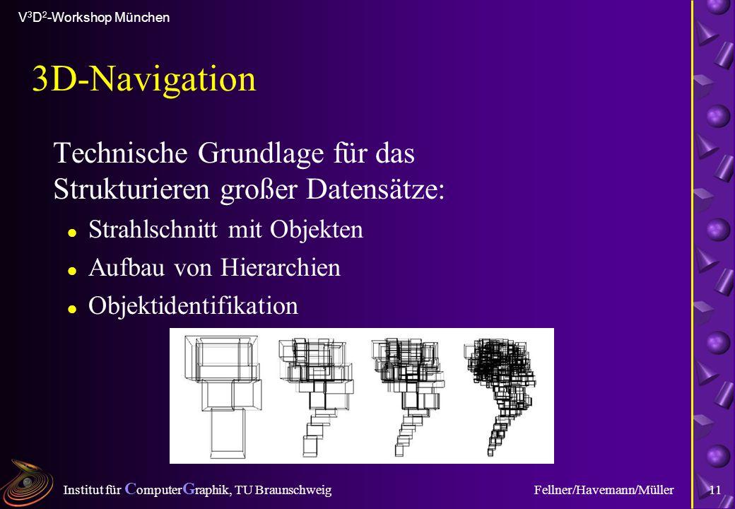 Institut für C omputer G raphik, TU Braunschweig V 3 D 2 -Workshop München Fellner/Havemann/Müller11 3D-Navigation Technische Grundlage für das Strukturieren großer Datensätze: l Strahlschnitt mit Objekten l Aufbau von Hierarchien l Objektidentifikation