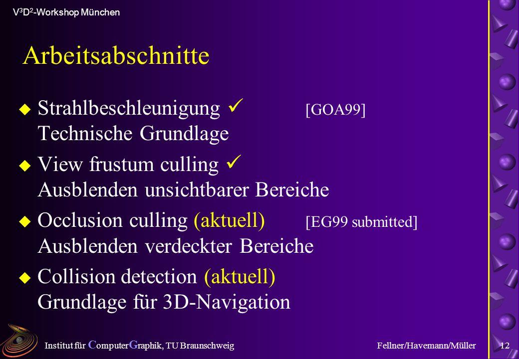 Institut für C omputer G raphik, TU Braunschweig V 3 D 2 -Workshop München Fellner/Havemann/Müller12 Arbeitsabschnitte u Strahlbeschleunigung [GOA99]