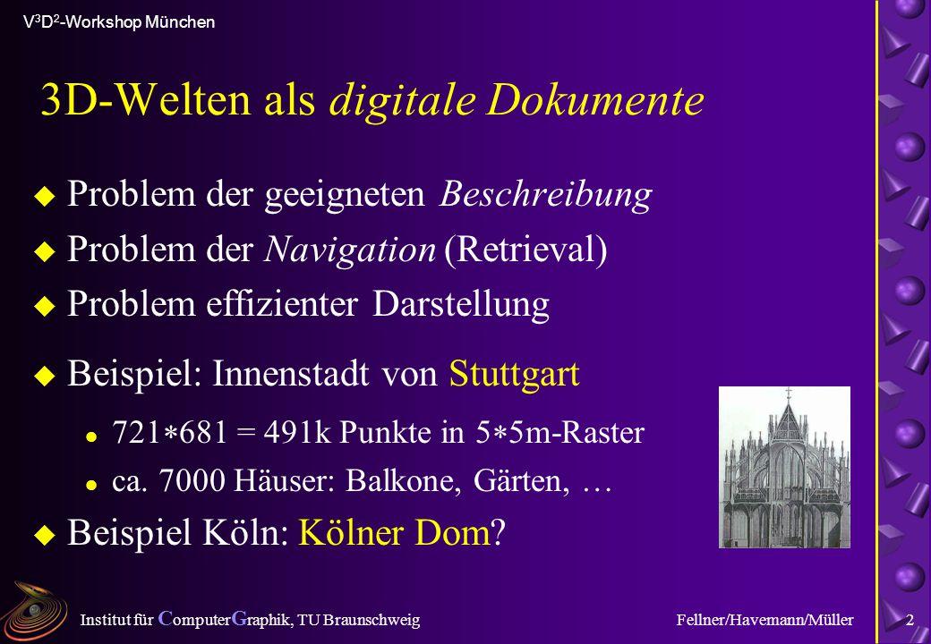 Institut für C omputer G raphik, TU Braunschweig V 3 D 2 -Workshop München Fellner/Havemann/Müller2 3D-Welten als digitale Dokumente u Problem der gee