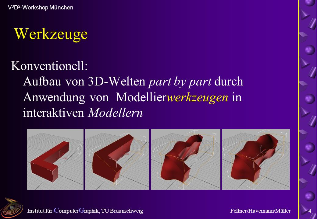 Institut für C omputer G raphik, TU Braunschweig V 3 D 2 -Workshop München Fellner/Havemann/Müller4 Werkzeuge Konventionell: Aufbau von 3D-Welten part by part durch Anwendung von Modellierwerkzeugen in interaktiven Modellern