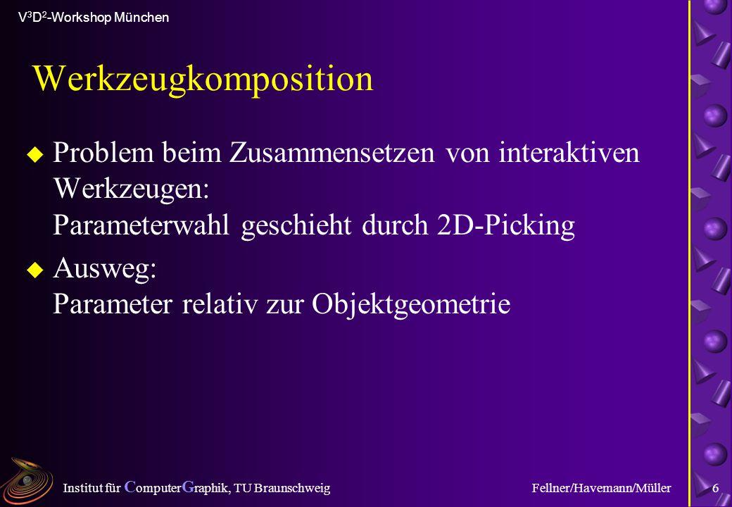 Institut für C omputer G raphik, TU Braunschweig V 3 D 2 -Workshop München Fellner/Havemann/Müller6 Werkzeugkomposition u Problem beim Zusammensetzen
