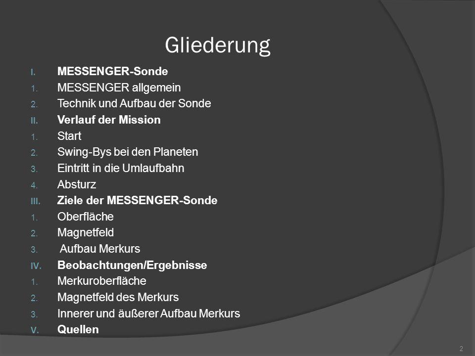 Gliederung I.MESSENGER-Sonde 1. MESSENGER allgemein 2.