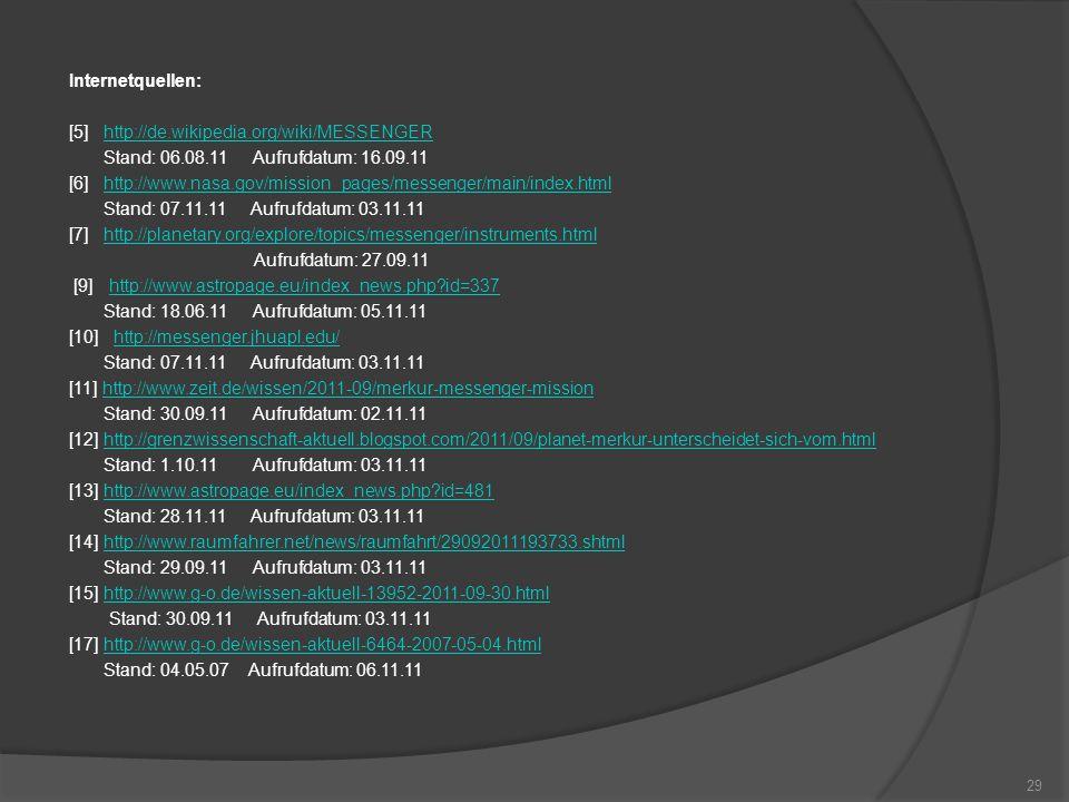 Internetquellen: [5] http://de.wikipedia.org/wiki/MESSENGERhttp://de.wikipedia.org/wiki/MESSENGER Stand: 06.08.11 Aufrufdatum: 16.09.11 [6] http://www