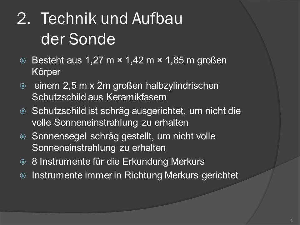 2.Technik und Aufbau der Sonde  Besteht aus 1,27 m × 1,42 m × 1,85 m großen Körper  einem 2,5 m x 2m großen halbzylindrischen Schutzschild aus Keramikfasern  Schutzschild ist schräg ausgerichtet, um nicht die volle Sonneneinstrahlung zu erhalten  Sonnensegel schräg gestellt, um nicht volle Sonneneinstrahlung zu erhalten  8 Instrumente für die Erkundung Merkurs  Instrumente immer in Richtung Merkurs gerichtet 4