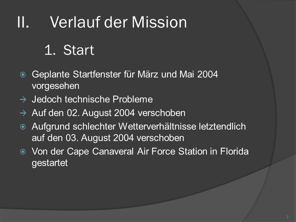 II.Verlauf der Mission  Geplante Startfenster für März und Mai 2004 vorgesehen  Jedoch technische Probleme  Auf den 02. August 2004 verschoben  Au