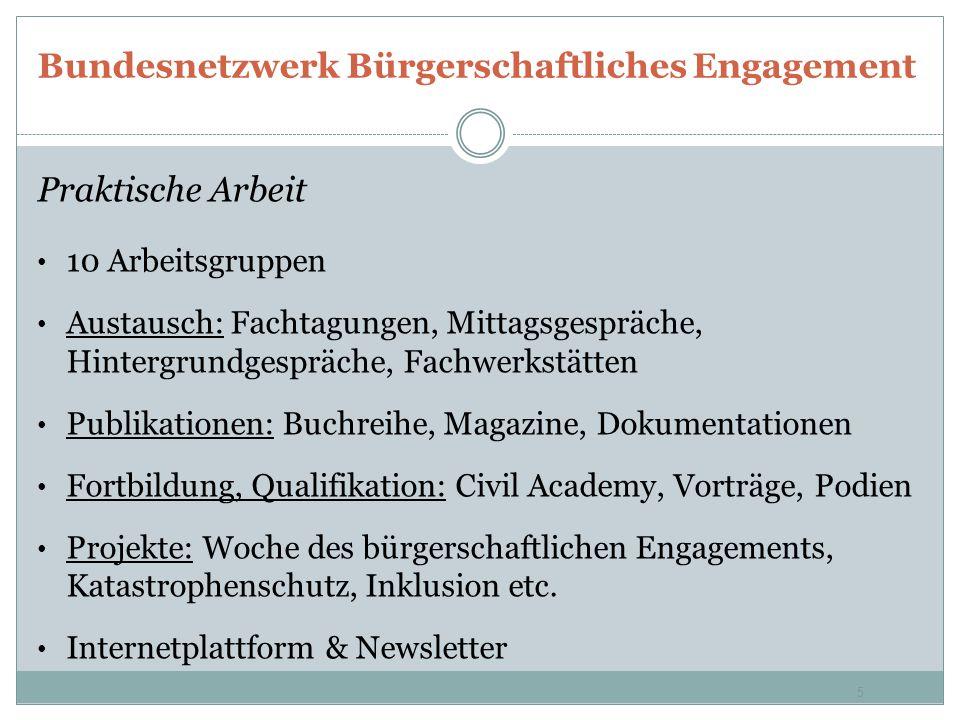 Bundesnetzwerk Bürgerschaftliches Engagement Praktische Arbeit 10 Arbeitsgruppen Austausch: Fachtagungen, Mittagsgespräche, Hintergrundgespräche, Fach
