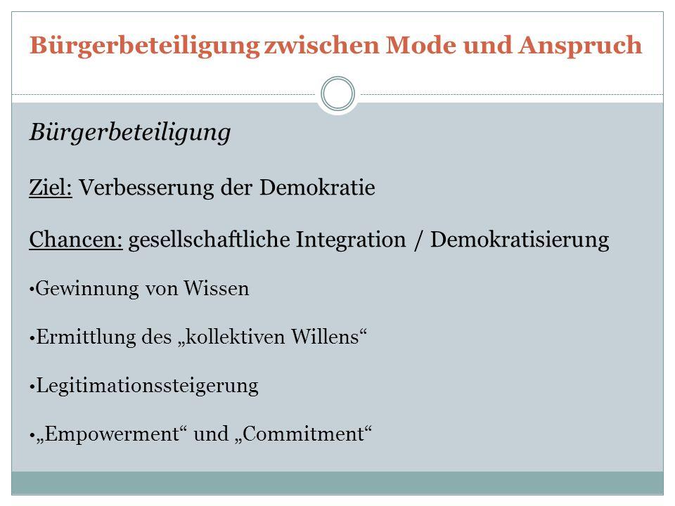 Bürgerbeteiligung zwischen Mode und Anspruch Bürgerbeteiligung Ziel: Verbesserung der Demokratie Chancen: gesellschaftliche Integration / Demokratisie