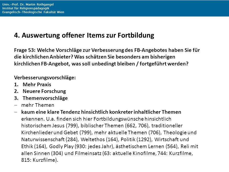 Univ.-Prof. Dr. Martin Rothgangel Institut für Religionspädagogik Evangelisch-Theologische Fakultät Wien 4. Auswertung offener Items zur Fortbildung F