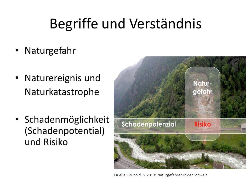 Begriffe und Verständnis Naturgefahr Naturereignis und Naturkatastrophe Schadenmöglichkeit (Schadenpotential) und Risiko Quelle: Brunold, S. 2013: Nat