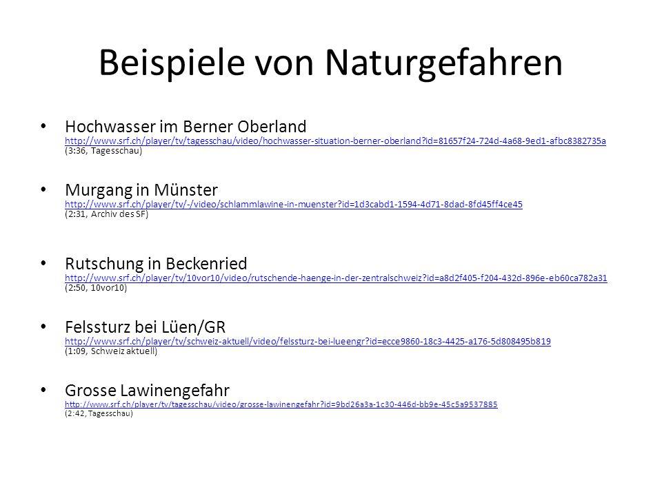 Beispiele von Naturgefahren Hochwasser im Berner Oberland http://www.srf.ch/player/tv/tagesschau/video/hochwasser-situation-berner-oberland?id=81657f2