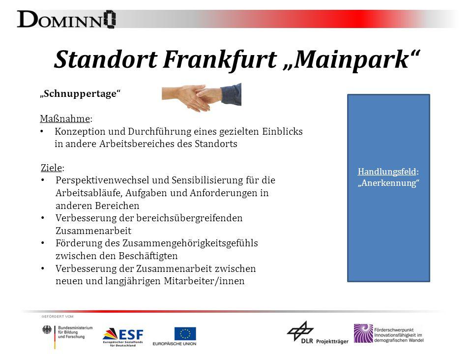 """Standort Frankfurt """"Mainpark"""" """"Schnuppertage"""" Maßnahme: Konzeption und Durchführung eines gezielten Einblicks in andere Arbeitsbereiches des Standorts"""