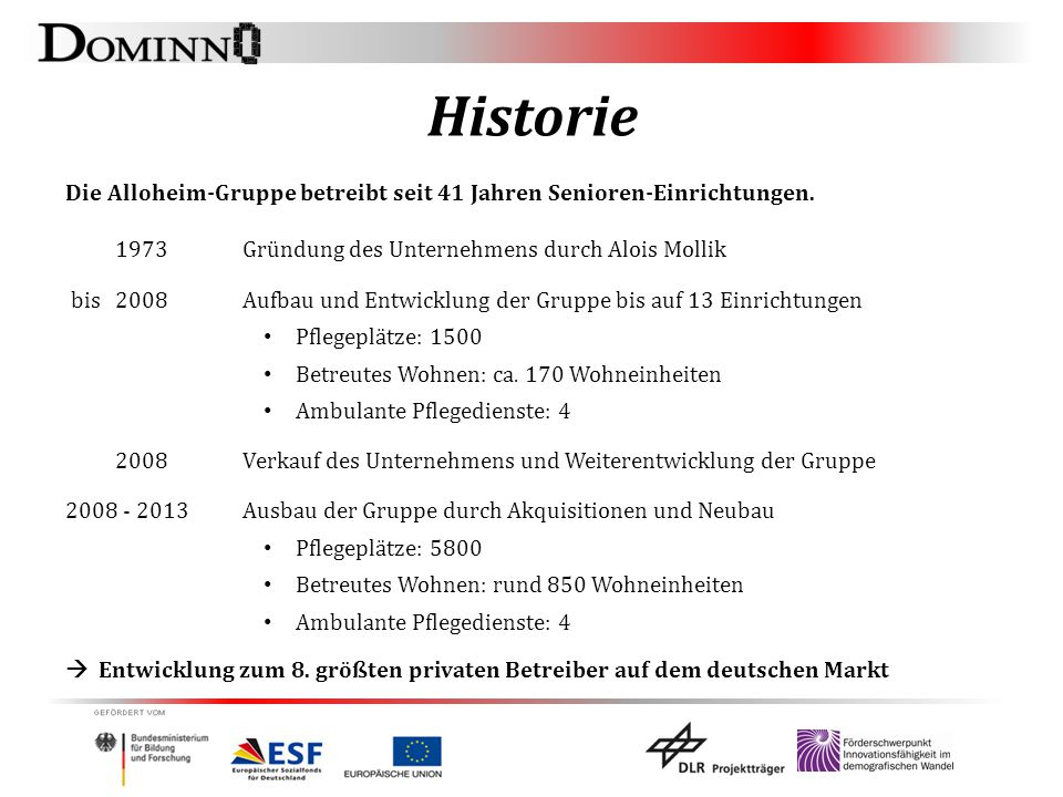 Historie Die Alloheim-Gruppe betreibt seit 41 Jahren Senioren-Einrichtungen. 1973 Gründung des Unternehmens durch Alois Mollik bis 2008Aufbau und Entw