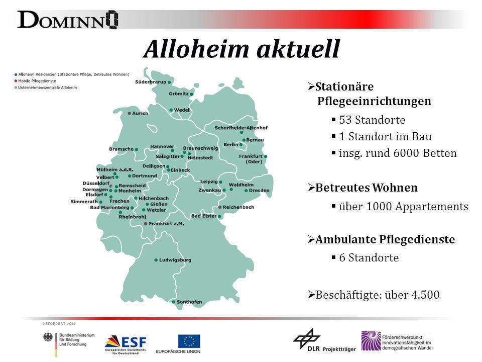 Alloheim aktuell  Stationäre Pflegeeinrichtungen  53 Standorte  1 Standort im Bau  insg. rund 6000 Betten  Betreutes Wohnen  über 1000 Apparteme