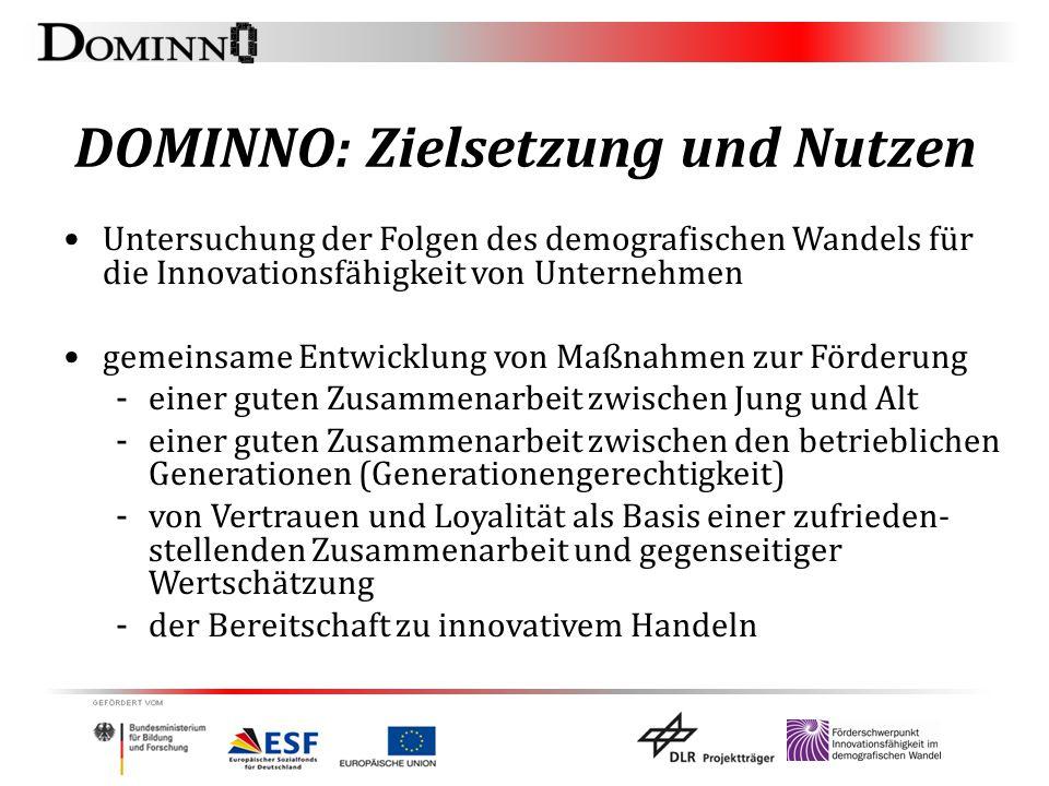 DOMINNO: Zielsetzung und Nutzen Untersuchung der Folgen des demografischen Wandels für die Innovationsfähigkeit von Unternehmen gemeinsame Entwicklung