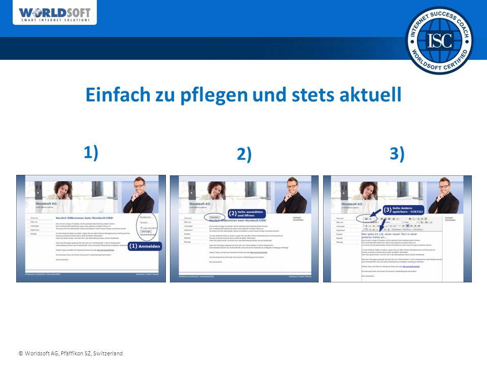 © Worldsoft AG, Pfäffikon SZ, Switzerland Einfach zu pflegen und stets aktuell 1) 2) 3)