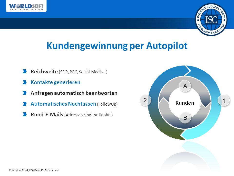 © Worldsoft AG, Pfäffikon SZ, Switzerland 1 2 A B Kundengewinnung per Autopilot Reichweite (SEO, PPC, Social-Media…) Kontakte generieren Anfragen automatisch beantworten Automatisches Nachfassen (FollowUp) Rund-E-Mails (Adressen sind Ihr Kapital)