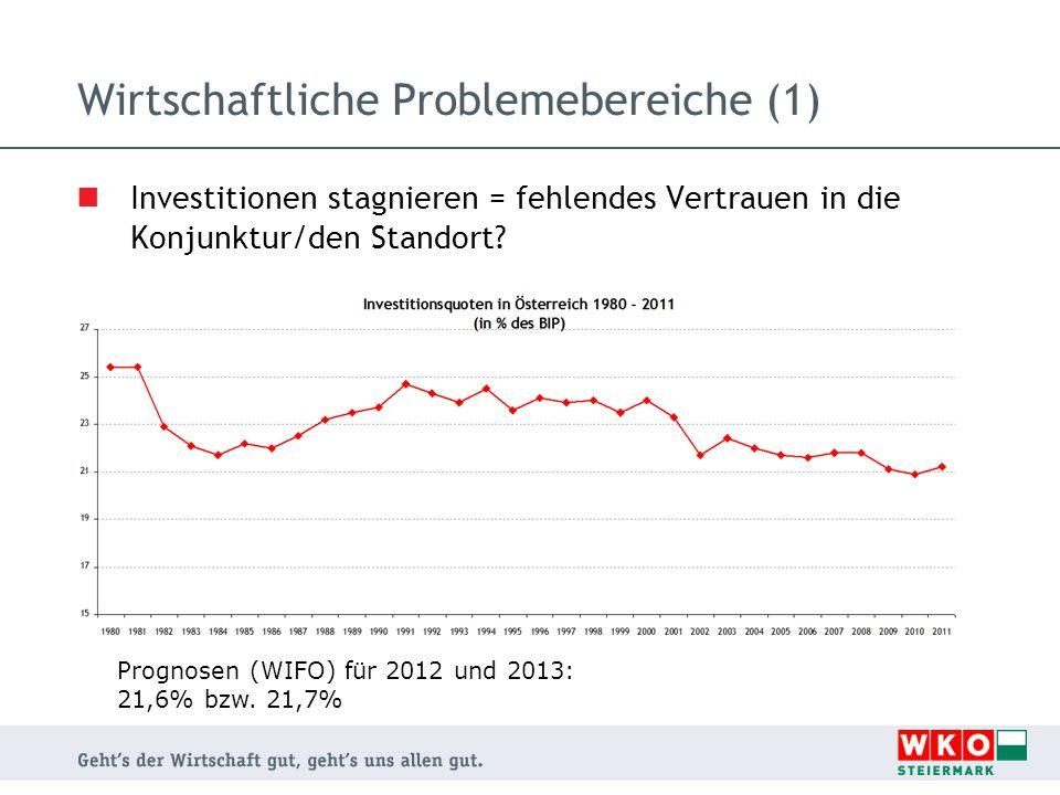 Wirtschaftliche Problemebereiche (1) Investitionen stagnieren = fehlendes Vertrauen in die Konjunktur/den Standort.