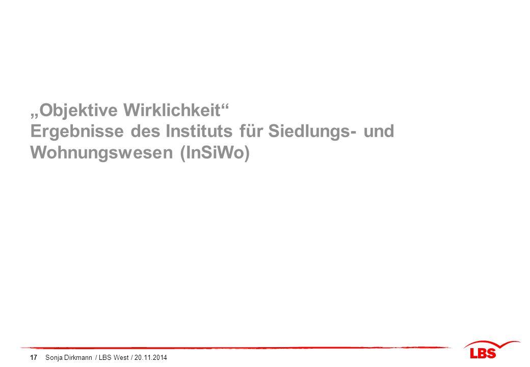 """17 """"Objektive Wirklichkeit"""" Ergebnisse des Instituts für Siedlungs- und Wohnungswesen (InSiWo)"""