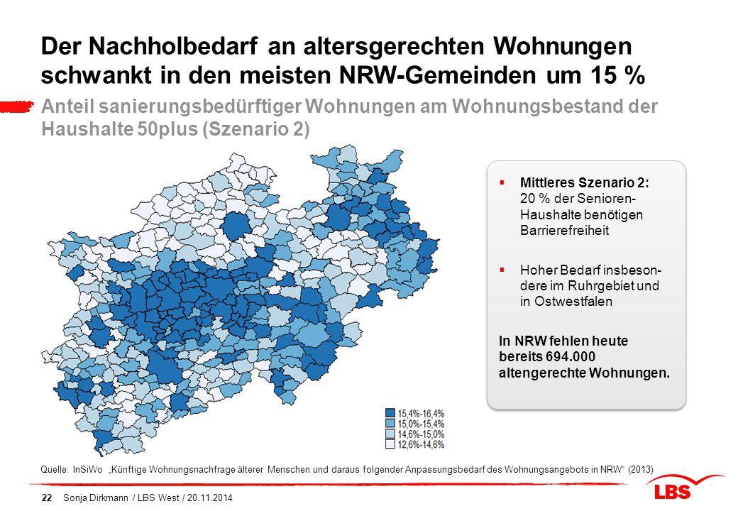 """Sonja Dirkmann / LBS West / 20.11.201422 Der Nachholbedarf an altersgerechten Wohnungen schwankt in den meisten NRW-Gemeinden um 15 % Quelle: InSiWo """""""