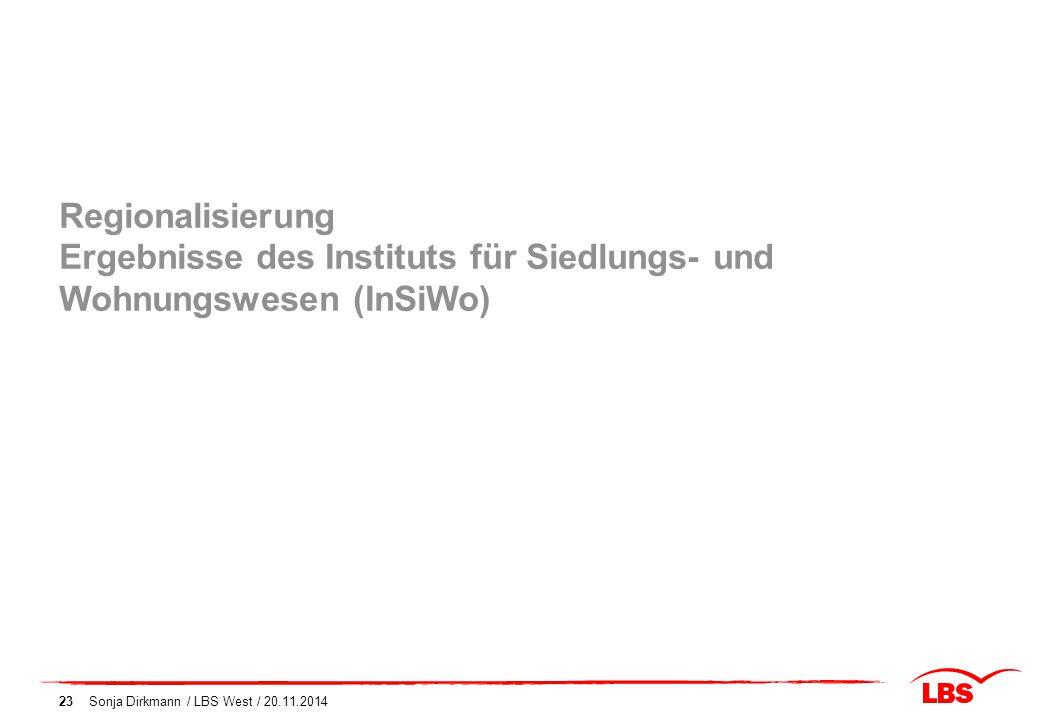 Sonja Dirkmann / LBS West / 20.11.201423 Regionalisierung Ergebnisse des Instituts für Siedlungs- und Wohnungswesen (InSiWo)