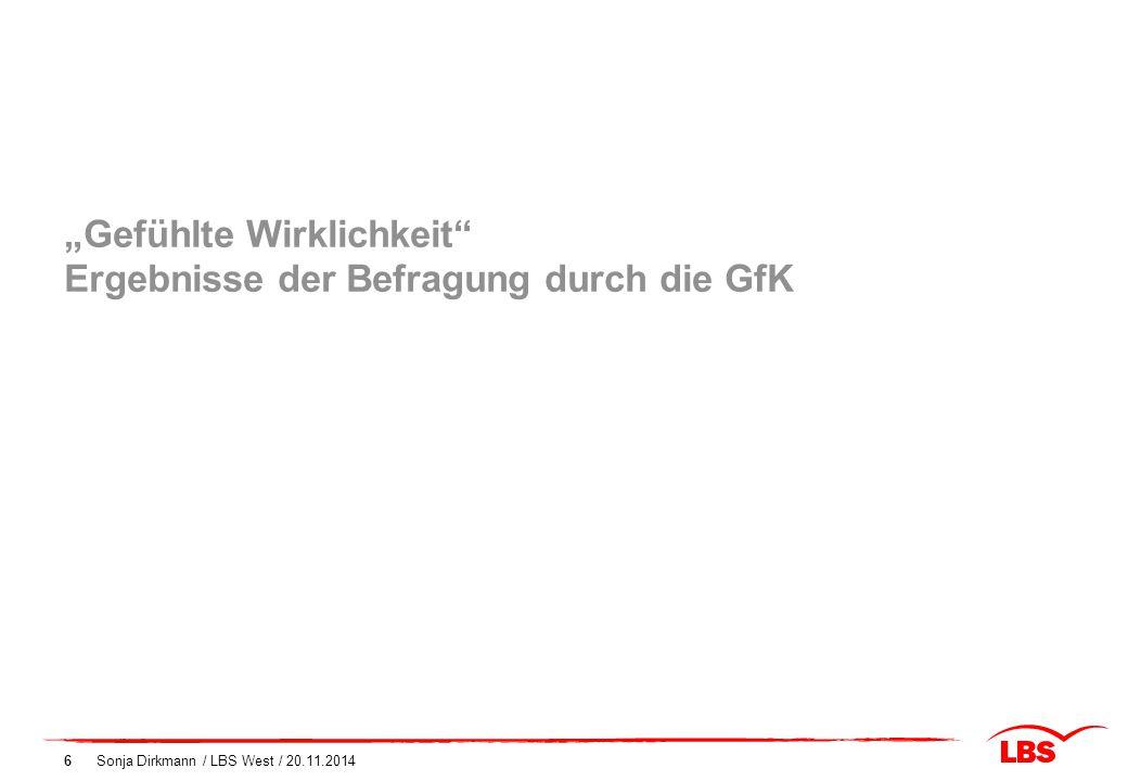 """Sonja Dirkmann / LBS West / 20.11.20146 """"Gefühlte Wirklichkeit"""" Ergebnisse der Befragung durch die GfK"""