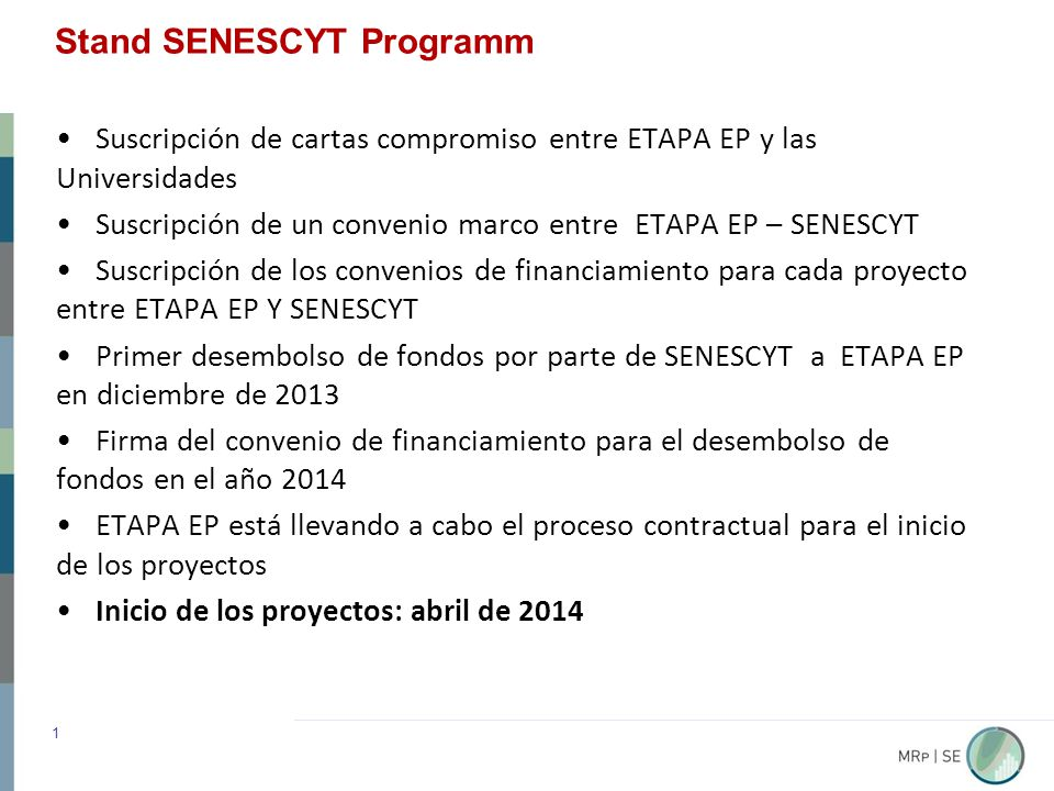 Stand SENESCYT Programm 1 Suscripción de cartas compromiso entre ETAPA EP y las Universidades Suscripción de un convenio marco entre ETAPA EP – SENESCYT Suscripción de los convenios de financiamiento para cada proyecto entre ETAPA EP Y SENESCYT Primer desembolso de fondos por parte de SENESCYT a ETAPA EP en diciembre de 2013 Firma del convenio de financiamiento para el desembolso de fondos en el año 2014 ETAPA EP está llevando a cabo el proceso contractual para el inicio de los proyectos Inicio de los proyectos: abril de 2014