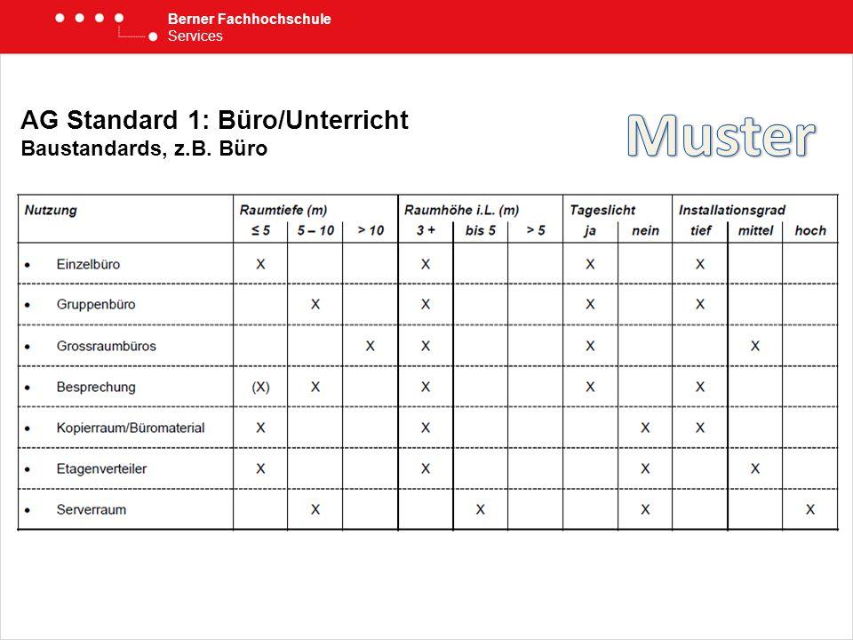 Berner Fachhochschule Services AG Standard 1: Büro/Unterricht Baustandards, z.B. Büro
