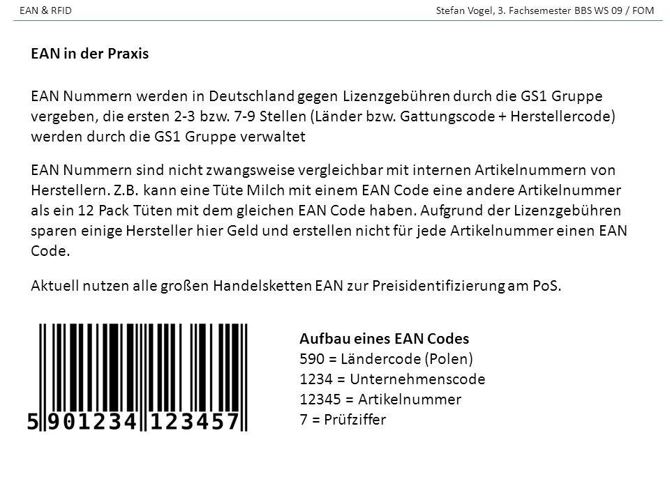 EAN & RFID Stefan Vogel, 3. Fachsemester BBS WS 09 / FOM EAN Nummern sind nicht zwangsweise vergleichbar mit internen Artikelnummern von Herstellern.