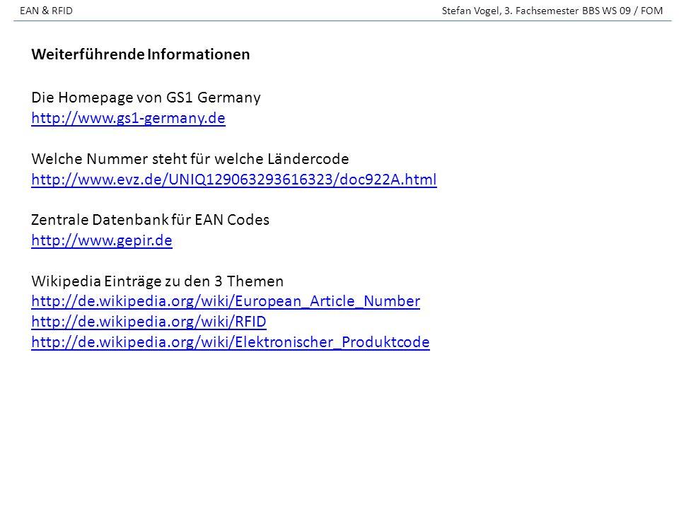 EAN & RFID Stefan Vogel, 3. Fachsemester BBS WS 09 / FOM Die Homepage von GS1 Germany http://www.gs1-germany.de Welche Nummer steht für welche Länderc
