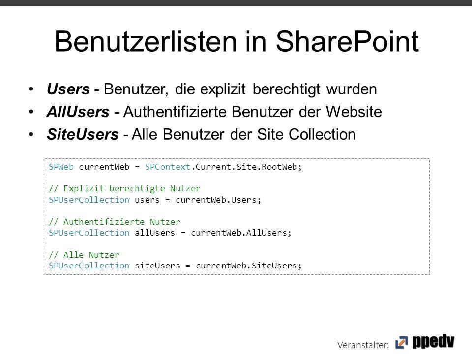 Veranstalter: Benutzerlisten in SharePoint Users - Benutzer, die explizit berechtigt wurden AllUsers - Authentifizierte Benutzer der Website SiteUsers - Alle Benutzer der Site Collection SPWeb currentWeb = SPContext.Current.Site.RootWeb; // Explizit berechtigte Nutzer SPUserCollection users = currentWeb.Users; // Authentifizierte Nutzer SPUserCollection allUsers = currentWeb.AllUsers; // Alle Nutzer SPUserCollection siteUsers = currentWeb.SiteUsers;