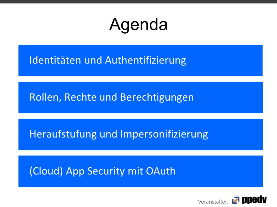 Veranstalter: Agenda Identitäten und Authentifizierung Rollen, Rechte und Berechtigungen Heraufstufung und Impersonifizierung (Cloud) App Security mit